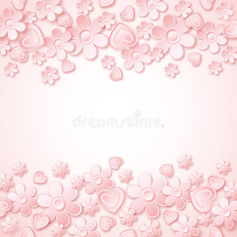 Pink background with valentine hearts and flowers stock illustration