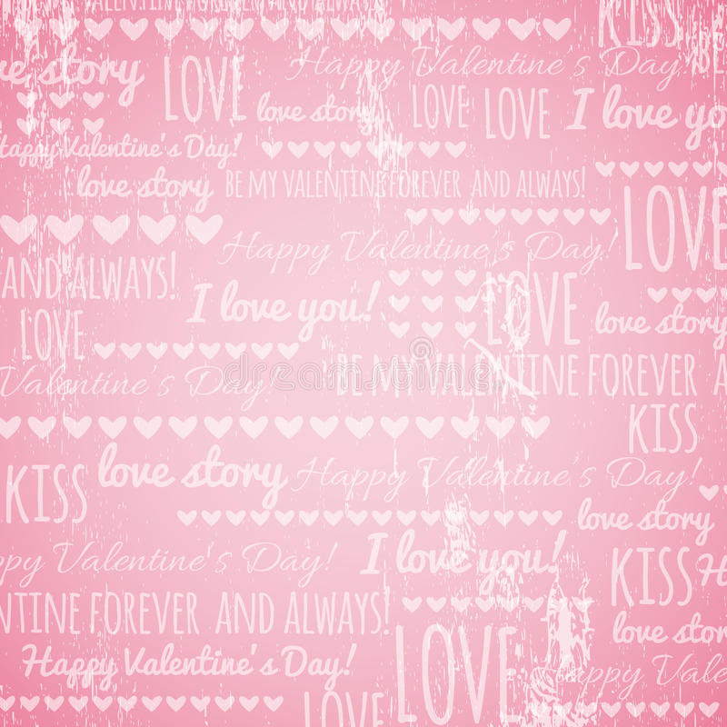 Download Pink Background With  Valentine Hearts And Wishes Stock Vector - Image: 36118789