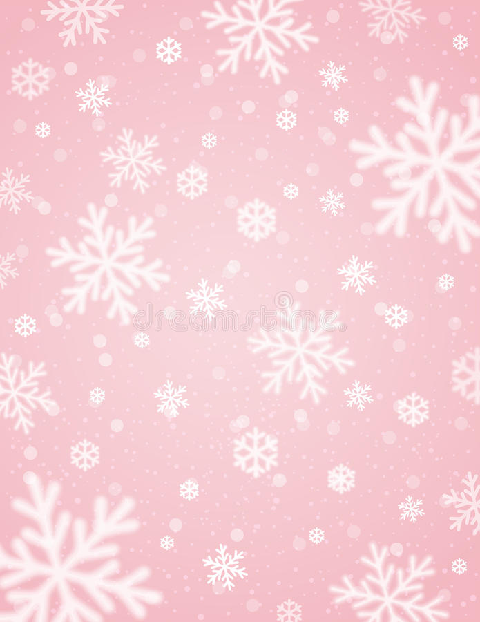 Pink background with white blurred snowflakes, vector vector illustration