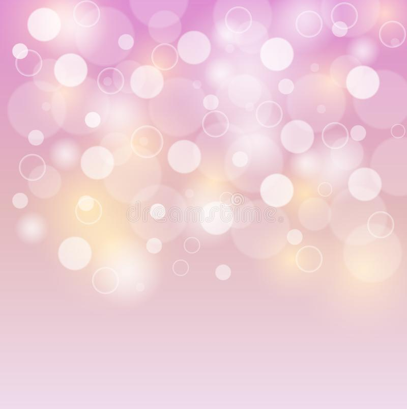 Pink background white bubbles or bokeh lights. Abstract colorful background, blurred bokeh lights on pink backdrop, floating round circle shapes or bubbles royalty free illustration
