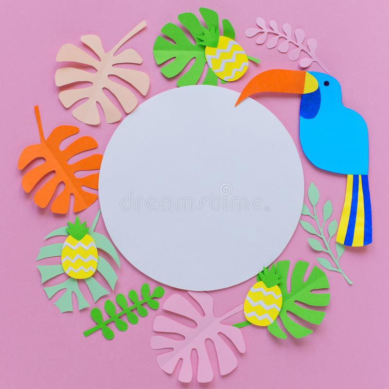 Pink background with white circle, pineapples, bird, and leaves. Of paper on the right side, spring, summer, decor for postcard royalty free stock images