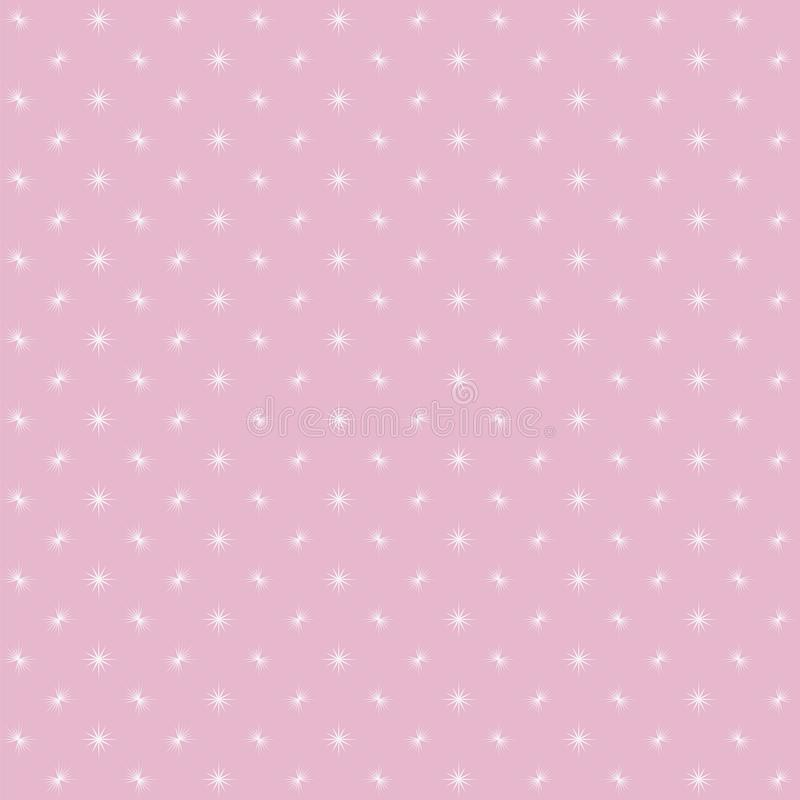 Pink background with white small flashes of glare flashing in a checkered pattern cute baby girlish babies vector seamless pattern stock illustration