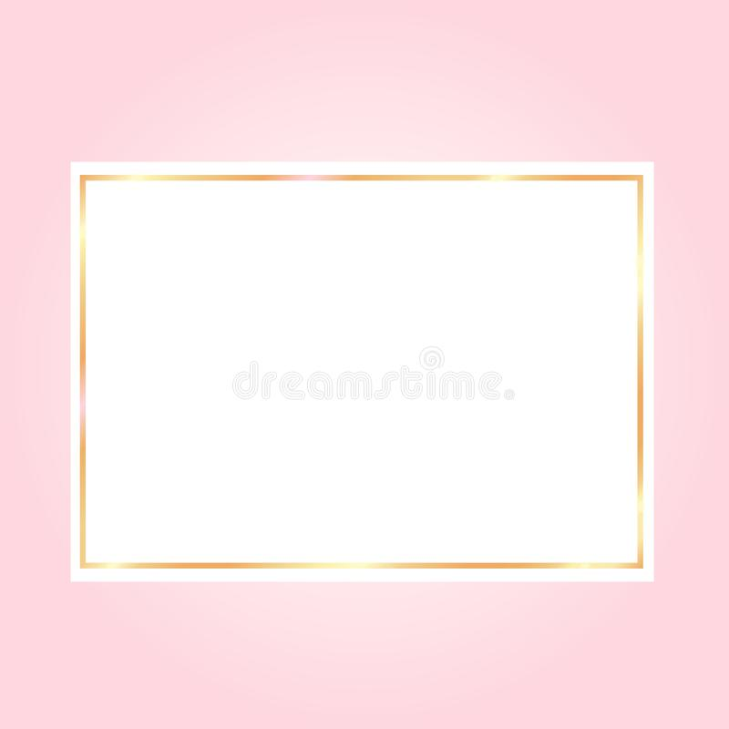 pink backgroundwith a golden frame on white paper vector illustration