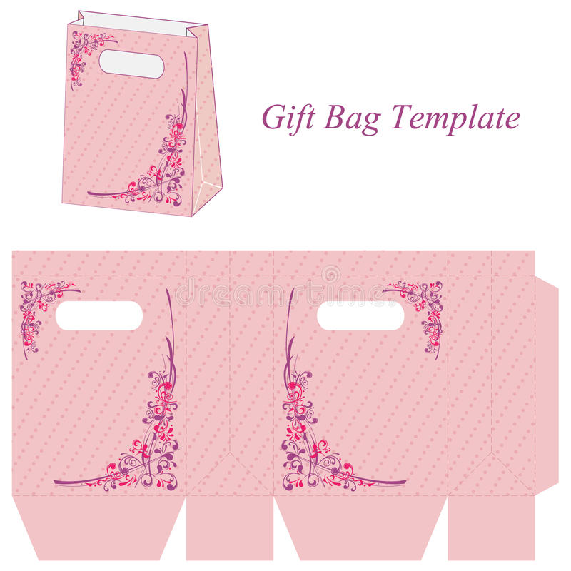 Pink Bag Template With Flowers And Dots Stock Vector - Illustration ...