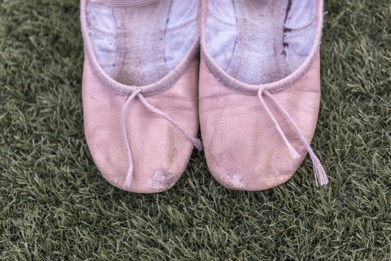 Pink ballet shoes stock image