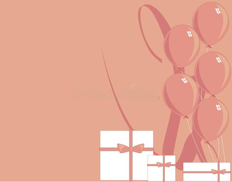 Pink balloon and gift illustra royalty free illustration