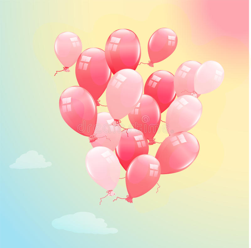 Pink balloons. In the blue sky royalty free illustration