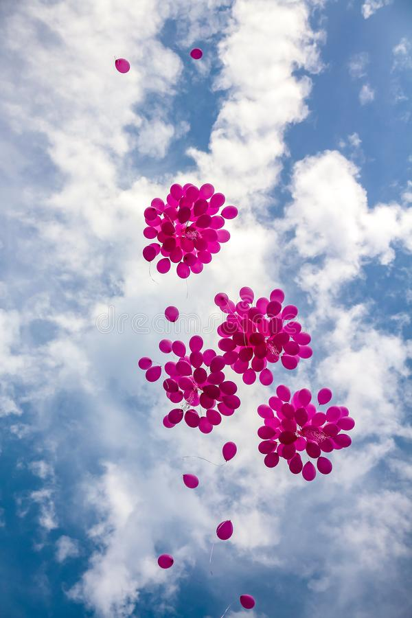 Pink balloons in a blue sky royalty free stock image