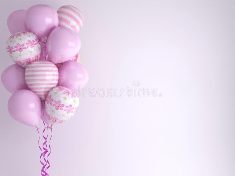 Pink balloons. Celebration concept background. royalty free illustration