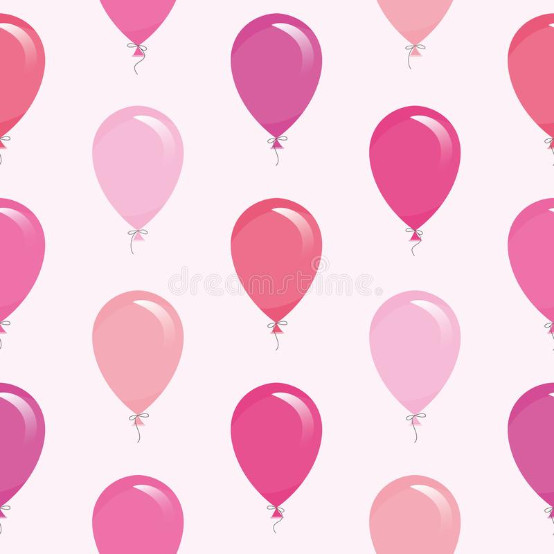 Pink balloons seamless pattern background. For birthday, baby shower design. royalty free illustration