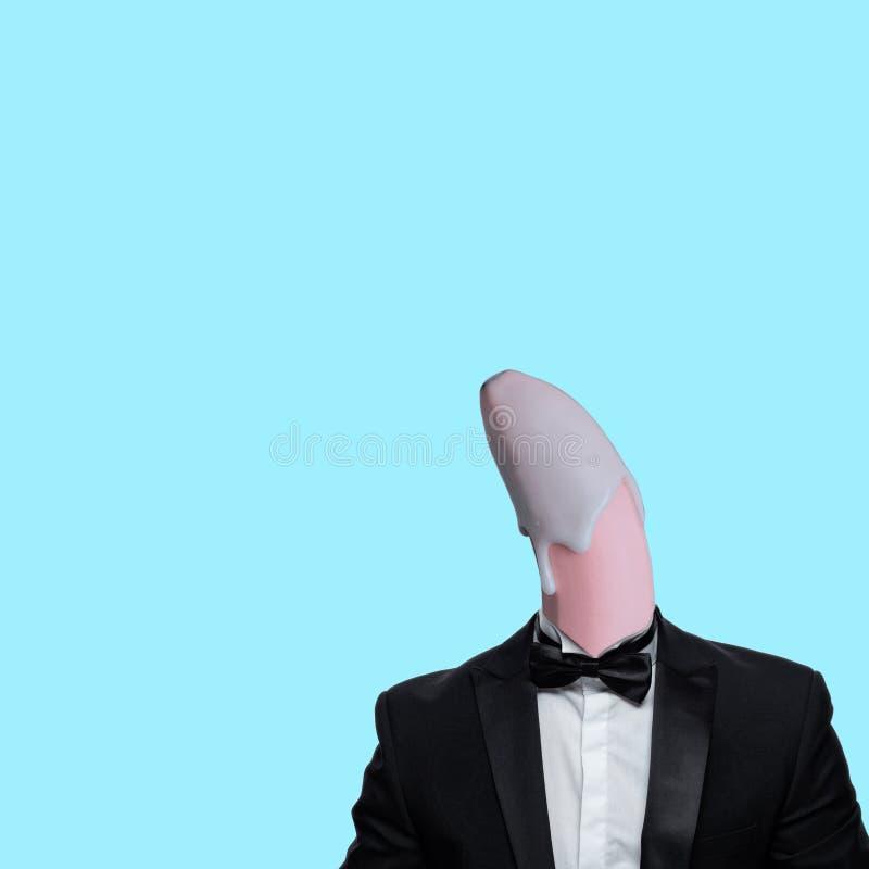Pink banana head in smoking royalty free stock images