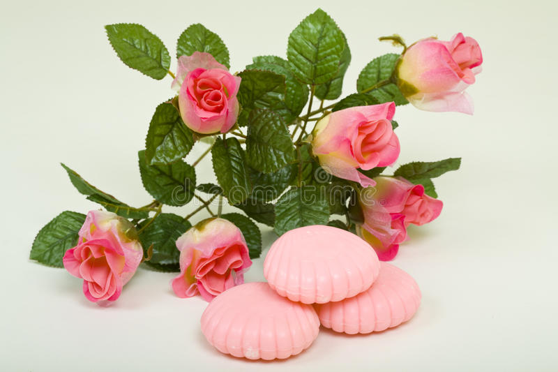 Pink Bar Soap With Artificial Flower Royalty Free Stock Photo