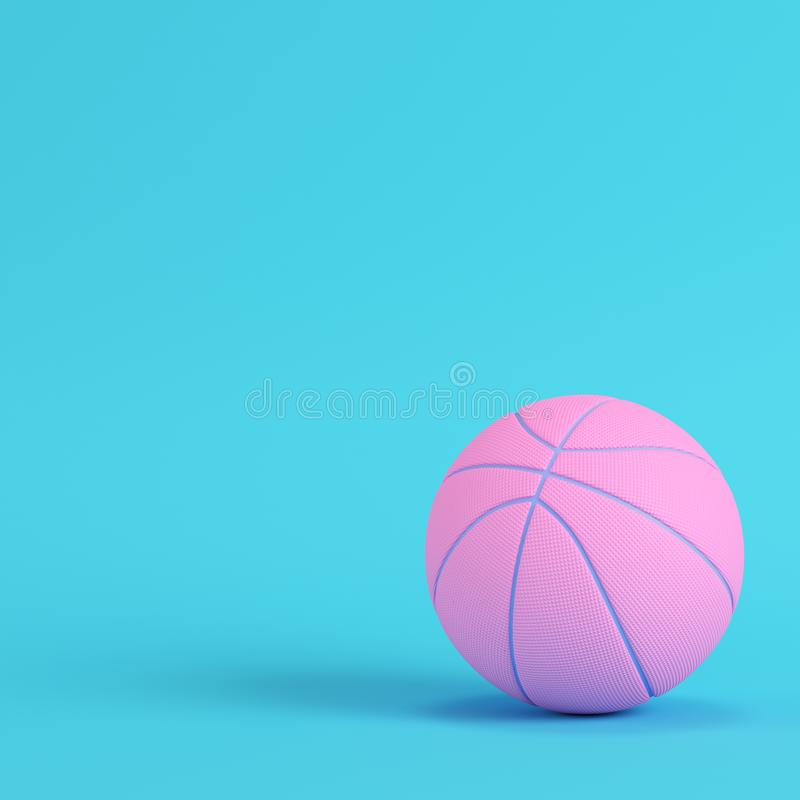 Pink Basketball Ball On Bright Blue Background In Pastel Colors