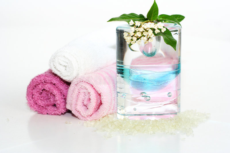 Pink bath accessories stock images
