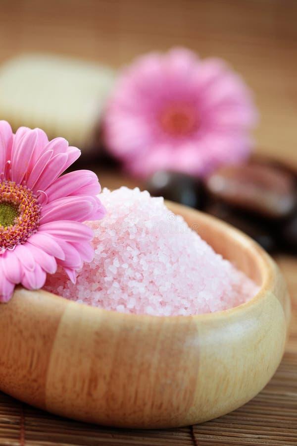 Pink bath salt stock image