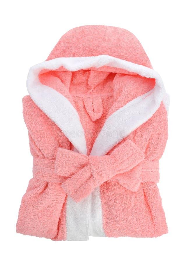 Pink bathrobe isolated on white. Background stock images