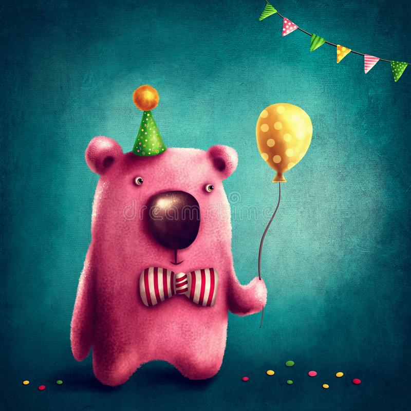 Download Pink bear and balloon stock illustration. Illustration of vintage - 113865264