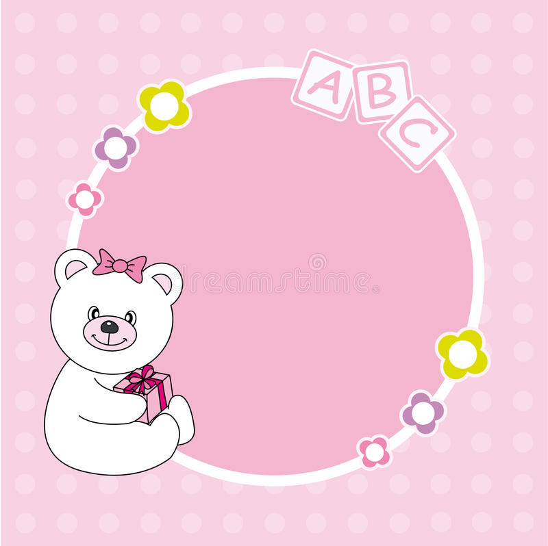 Pink bear framework. Baby girl arrival announcement. Pink bear framework. Space for text or photo stock illustration