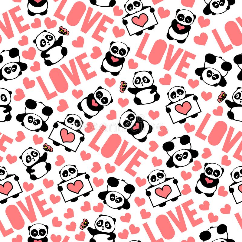 Pink, beautiful and romantic hand drawn pandas with hearts love typography design repeated pattern vector. Cute and funny hand drawn pandas with hearts love stock illustration