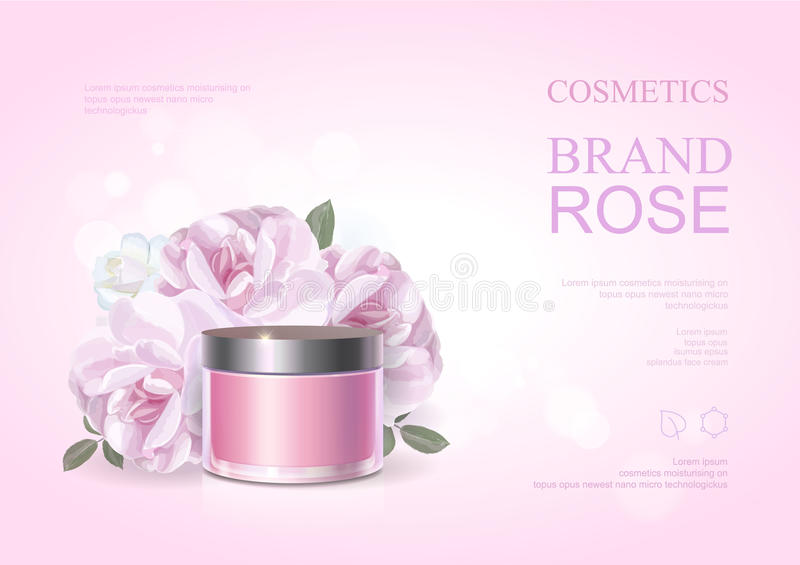 Pink beauty cosmetic product poster, rose moisturizing cream template, skin care ads . Vector illustration . vector illustration