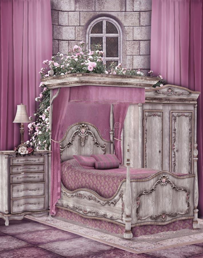Pink bedroom royalty free illustration
