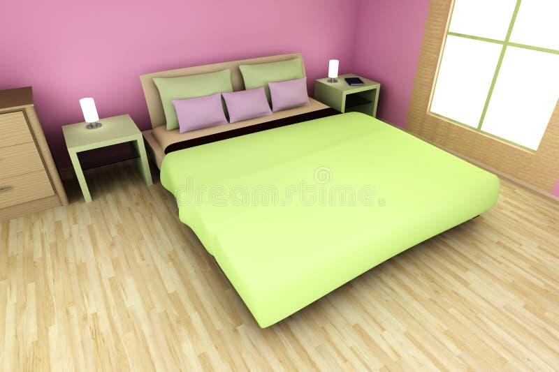 Download Pink Bedroom stock illustration. Image of girl, render - 24398063
