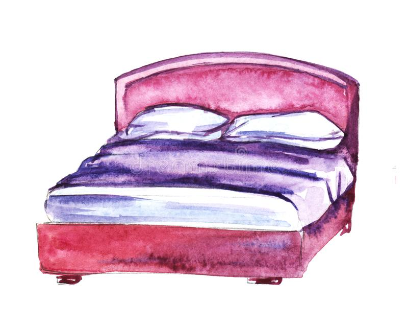 Pink bedroom furniture. Bed. Hand-drawn watercolor illustration. Isolated on white background vector illustration
