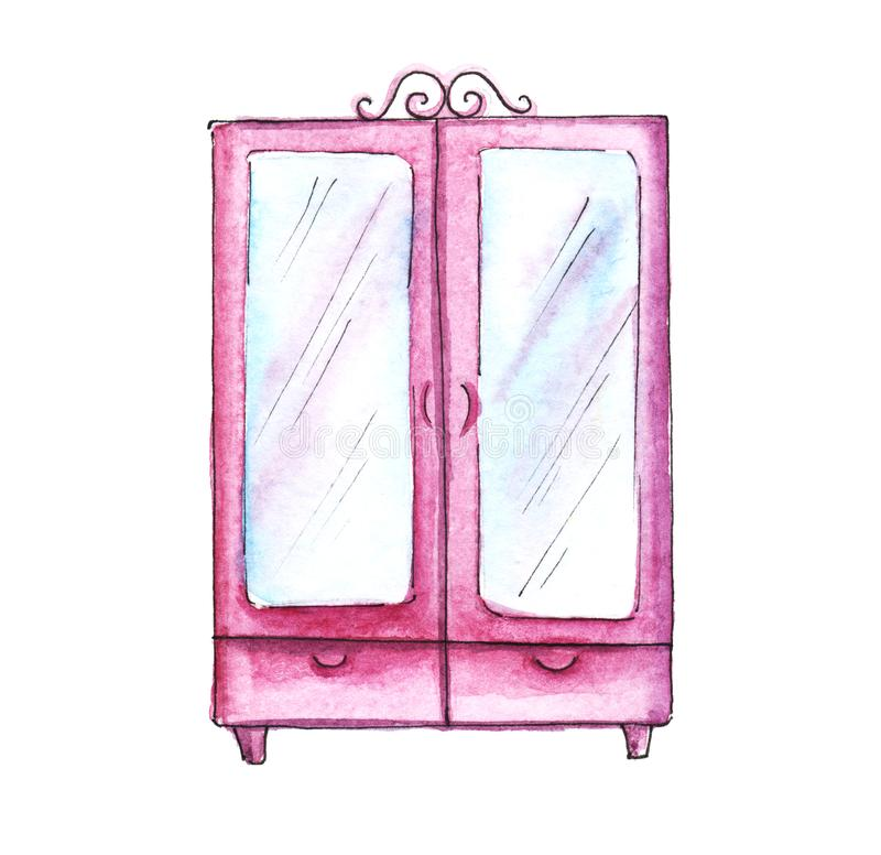 Pink bedroom furniture. Wardrobe. Hand-drawn watercolor illustration. Isolated on white background vector illustration