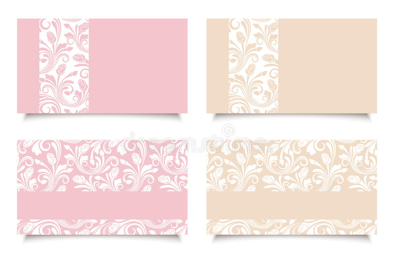 Pink and beige business cards with floral patterns. Vector EPS-10. stock illustration