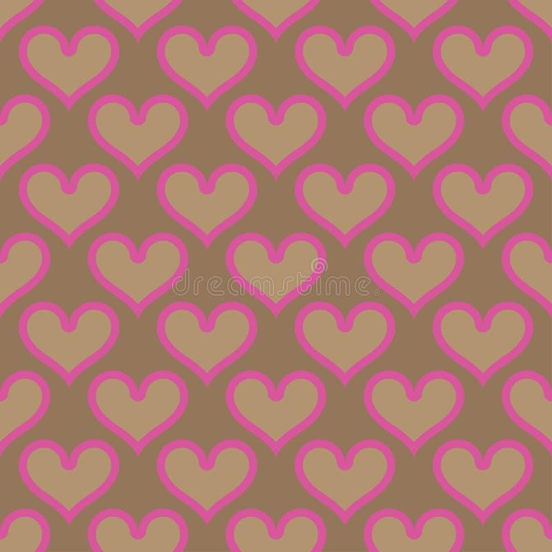 Pink beige hearts seamless background pattern stock illustration