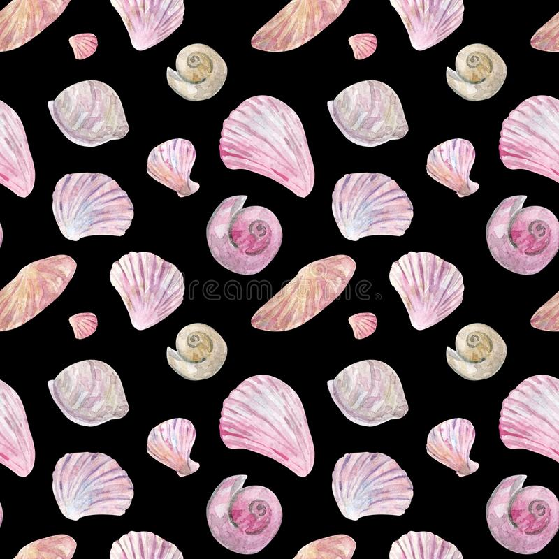 Watercolor seamless pink and beige shell pattern on black royalty free illustration