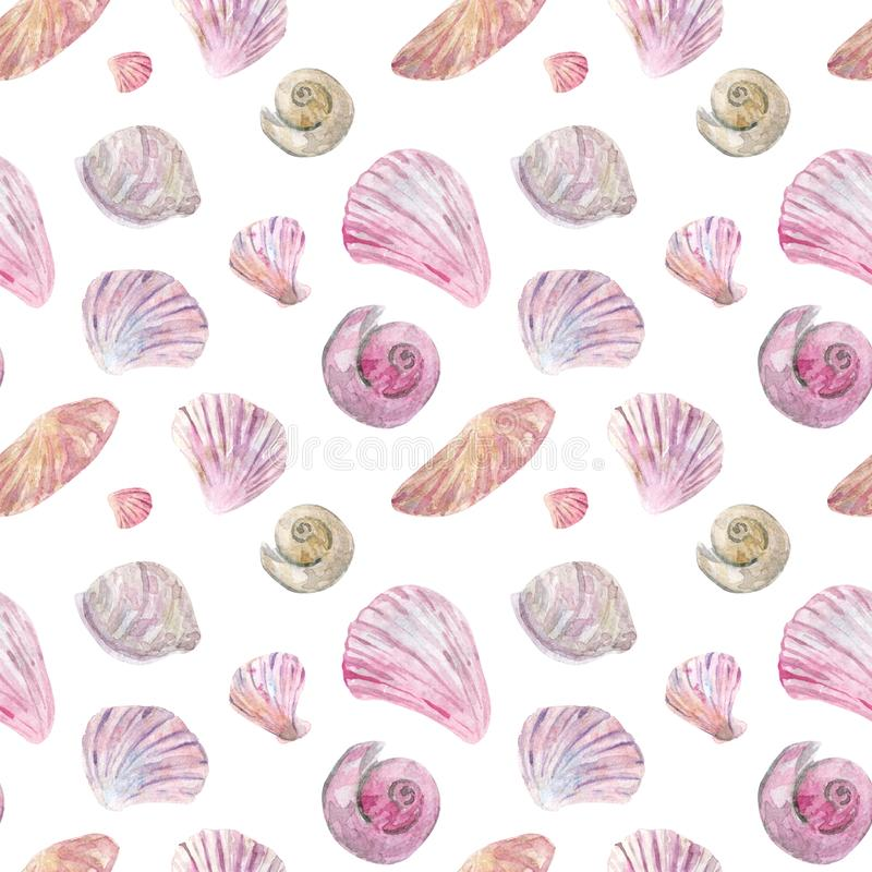 Watercolor seamless pink and beige shell pattern stock illustration