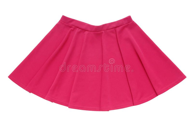 Pink bell-bottomed is isolated, a skirt has fuchsia colour royalty free stock images