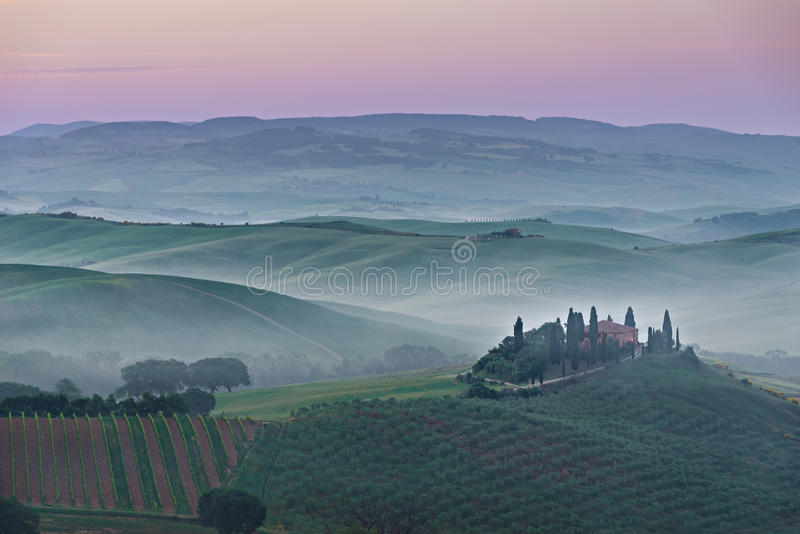 Pink Belvedere sunrise in Tuscany stock photography