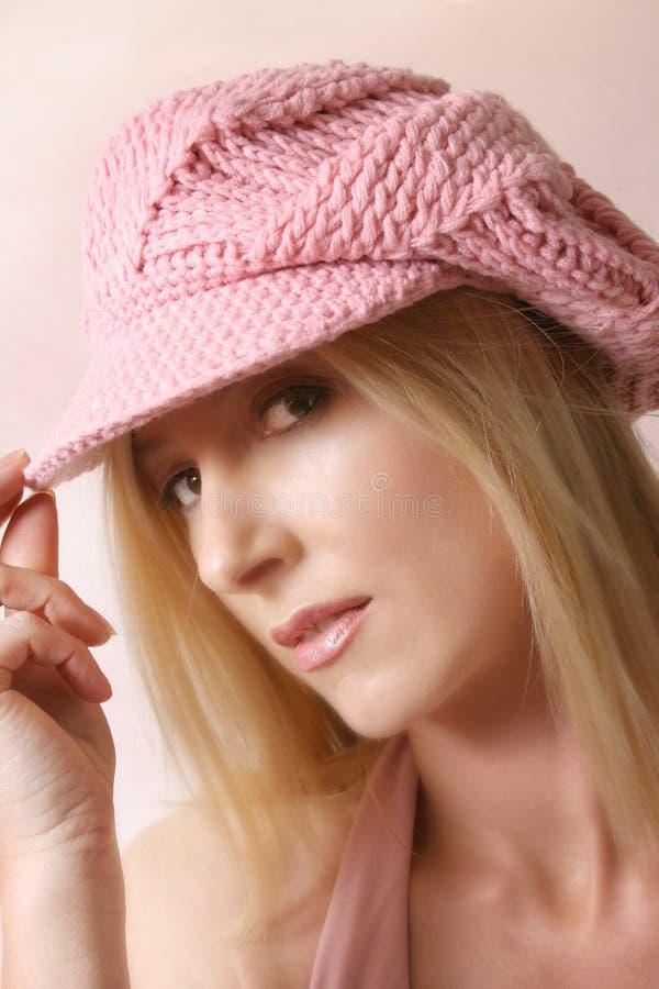 Pink beret. Girl in pink beret, (soft focus royalty free stock photos