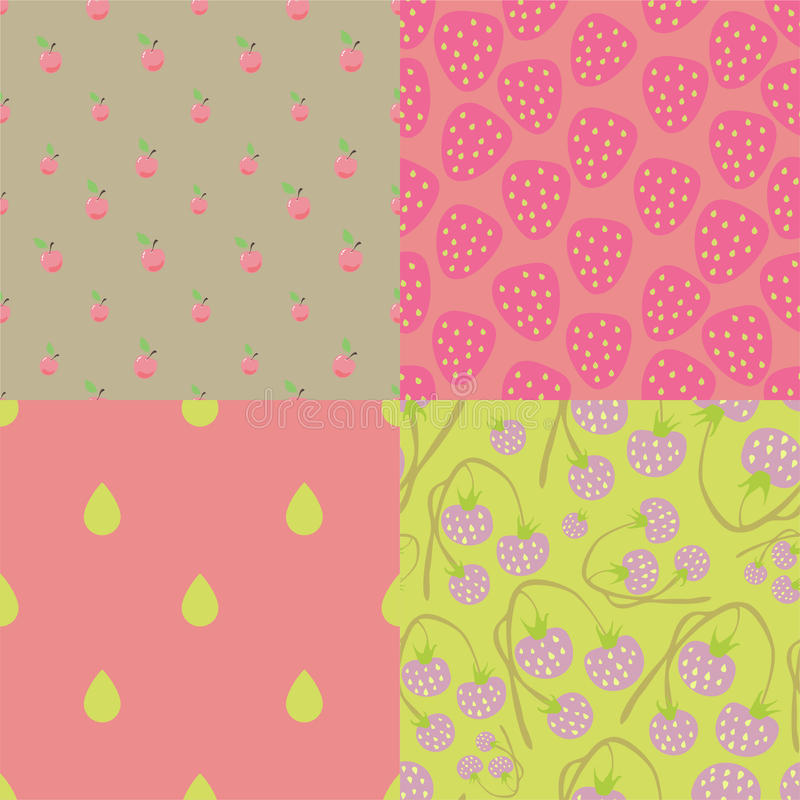 Pink berry seamless patterns vector illustration