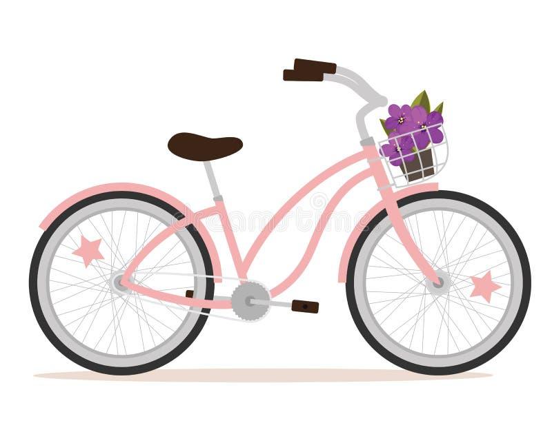 Pink bicycle royalty free illustration