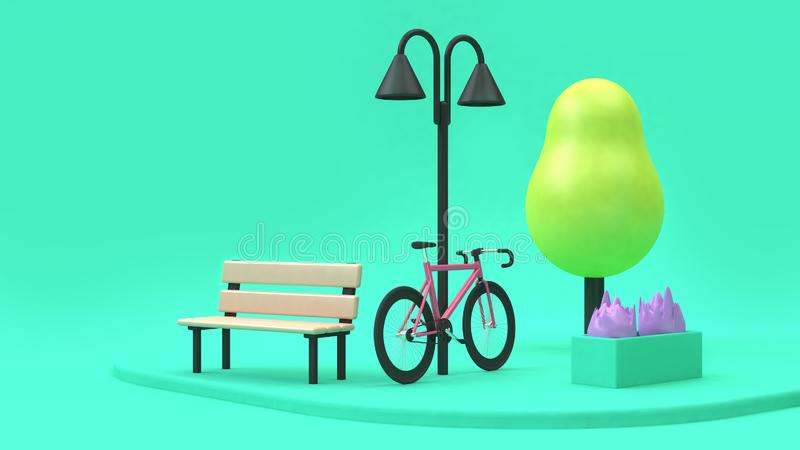 Pink bicycle cartoon style in green parks minimal 3d render going-travel-transportation-save environment city concept vector illustration