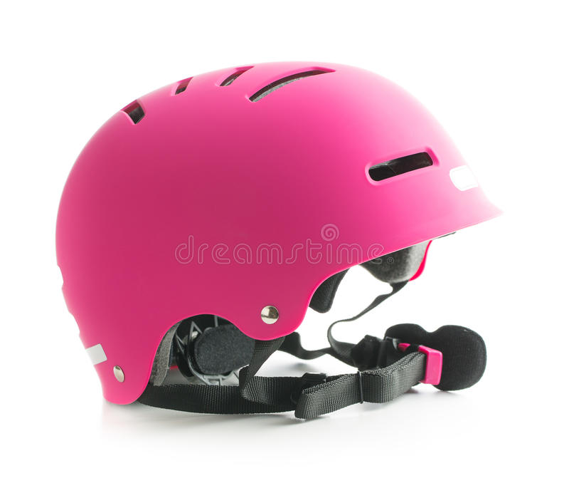 Pink bike helmet. Pink bike helmet isolated on white background royalty free stock image