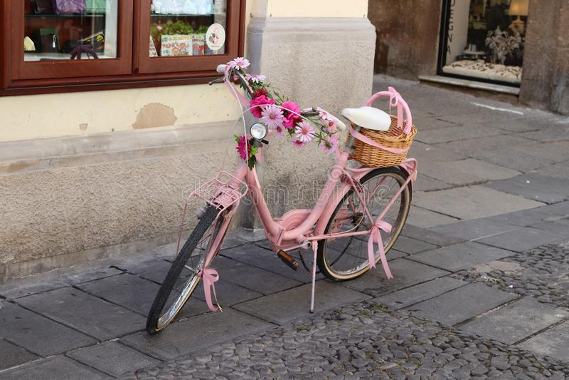 Pink bike. Pink bicycle, bike, in Alghero, Sardinia royalty free stock photography