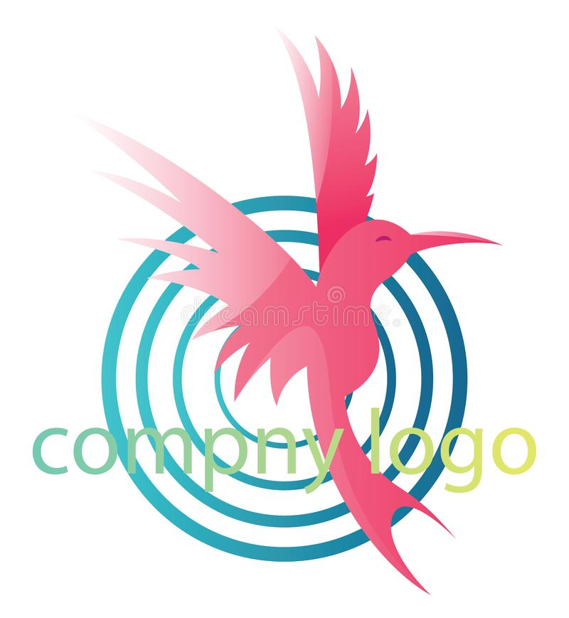 Pink bird with four blue circles and blank text vector logo design stock illustration
