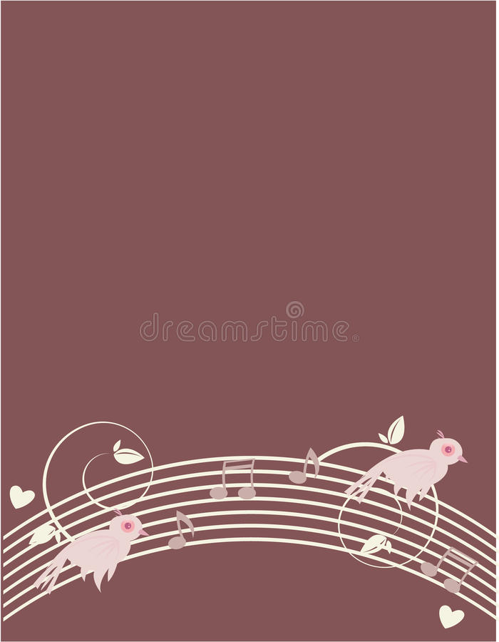 Pink birds on purple background 2 royalty free illustration