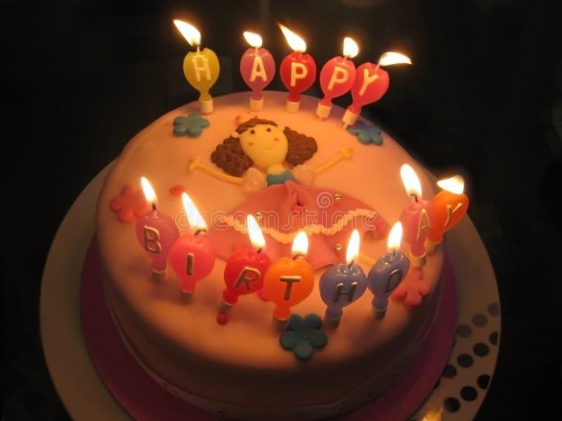 Pink birthday cake stock photos