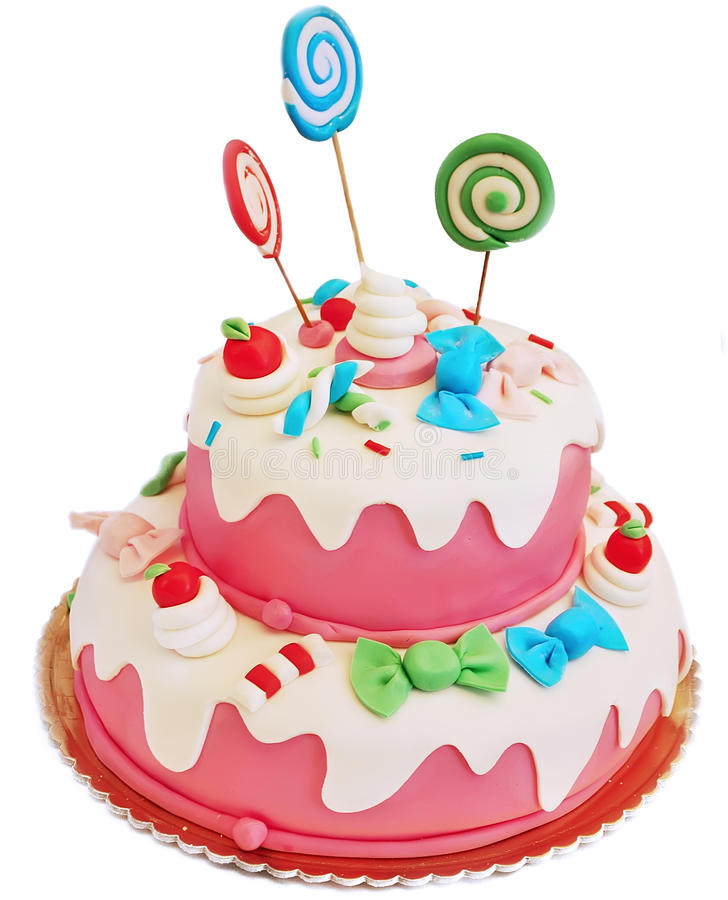 Pink birthday cake. For girl on white background stock images