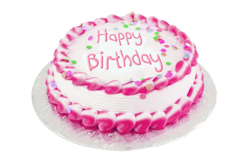 Pink birthday cake. Decorated pink frosted happy birthday cake royalty free stock photography