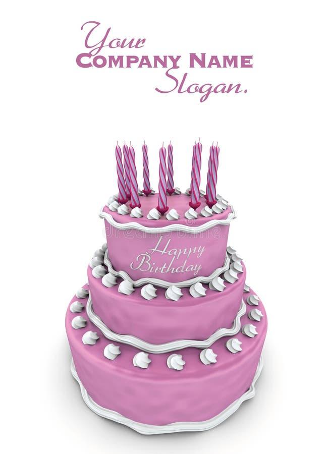 Pink birthday cake royalty free illustration