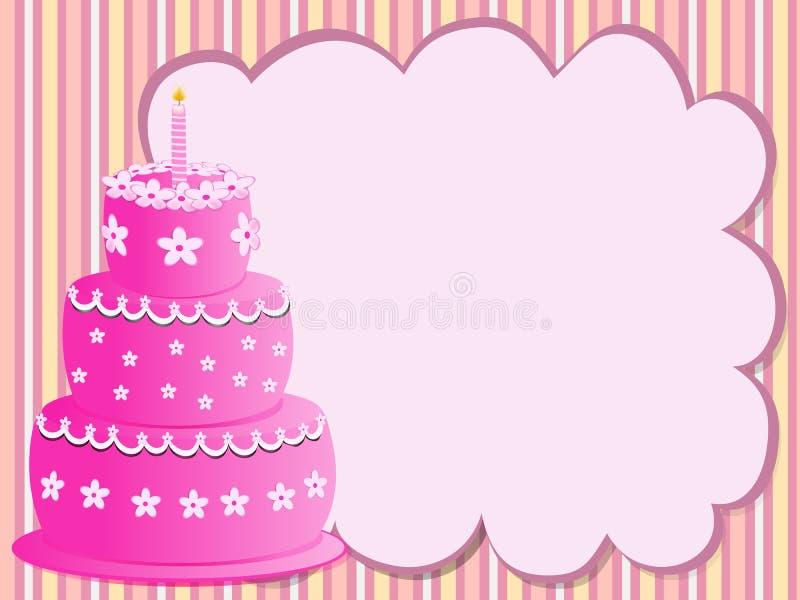 Pink birthday cake stock photo