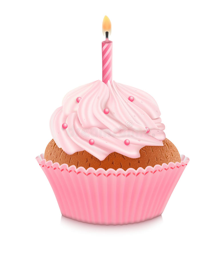 Pink birthday cupcake vector illustration