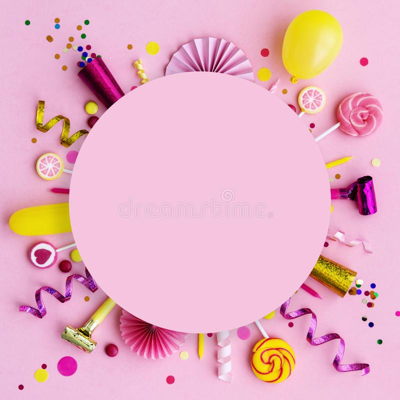 Pink birthday flat lay background royalty free stock photos