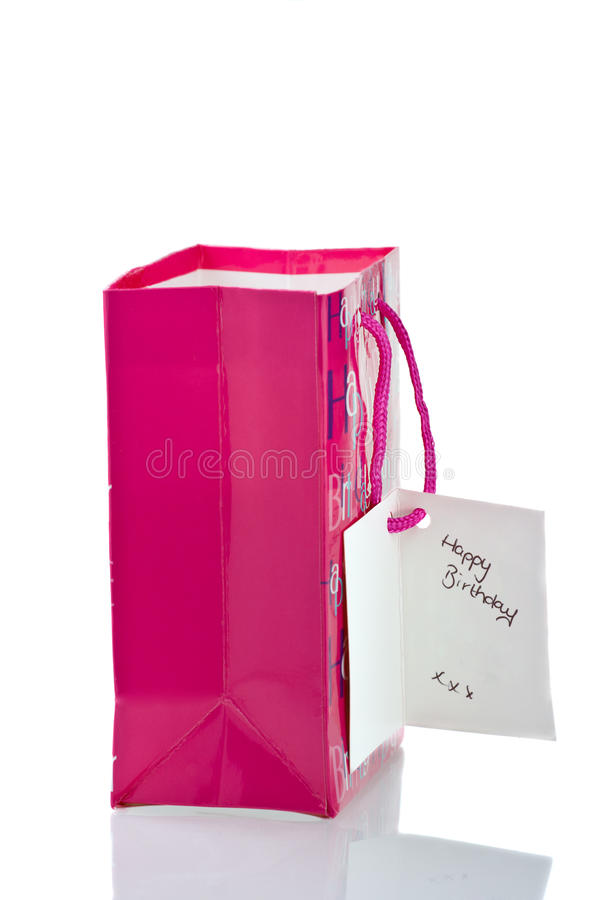 Download Pink Birthday Gift Bag Isolated On White Stock Photo - Image: 26537398